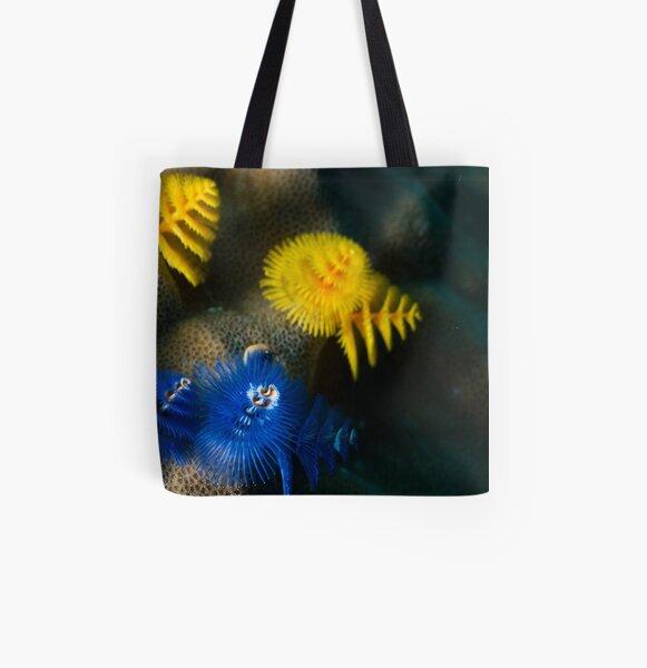 Christmas Tree worm Blue/yellow All Over Print Tote Bag