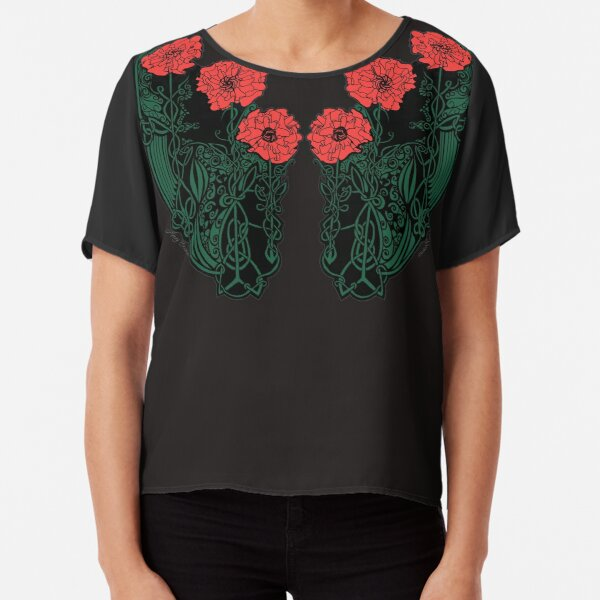 Red and Green Celtic Poppies Chiffon Top