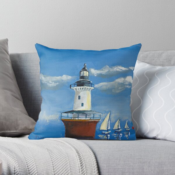Hoopers Island Lighthouse in the Chesapeake Bay Throw Pillow