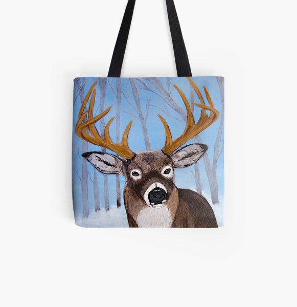 Winter Buck All Over Print Tote Bag