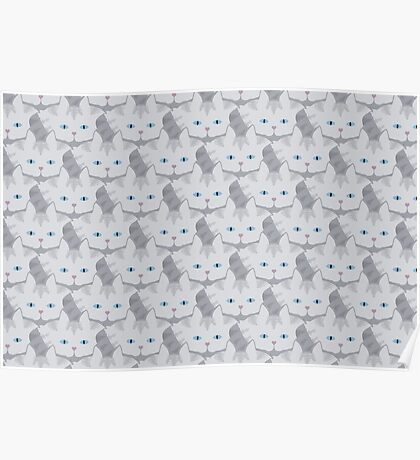 Light Grey #01  Tabby Cat Cattern [Cat Pattern] Poster