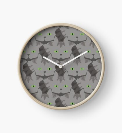 Grey #02  Tabby Cat Cattern [Cat Pattern] Clock