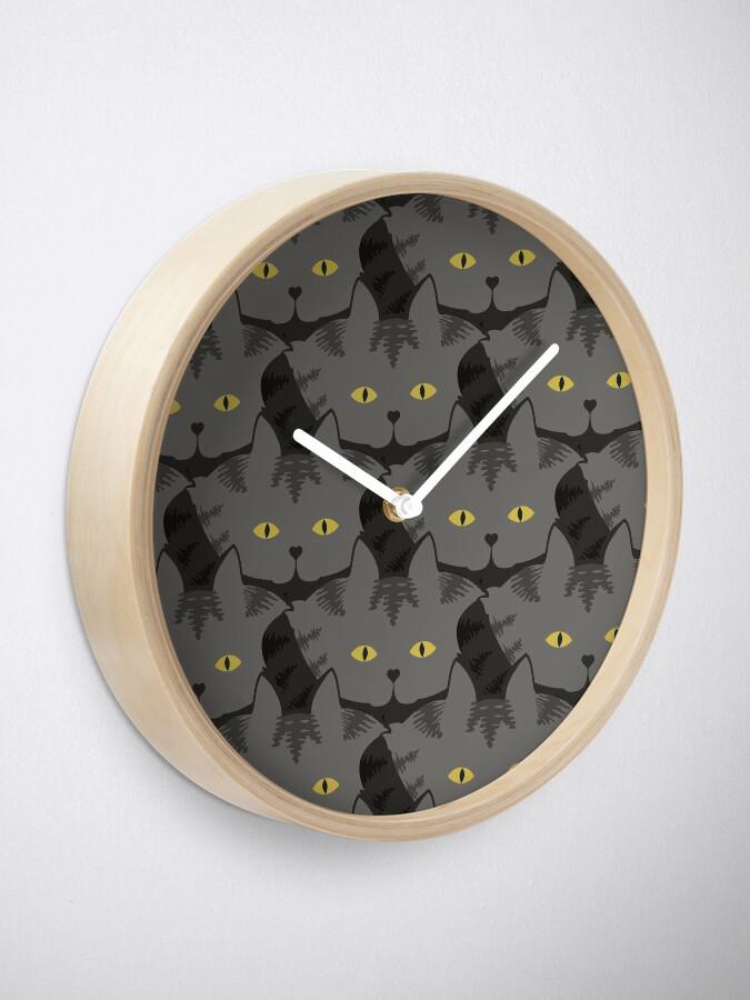 Alternate view of Grey #03  Tabby Cat Cattern [Cat Pattern] Clock