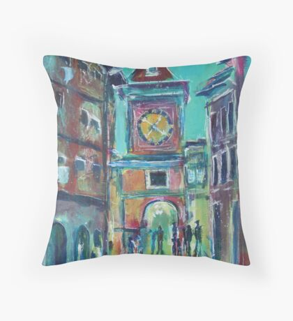 Clock Tower Arcade Throw Pillow