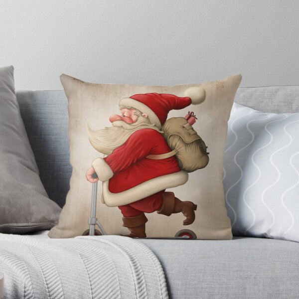 Santa Claus and the Push scooter Throw Pillow