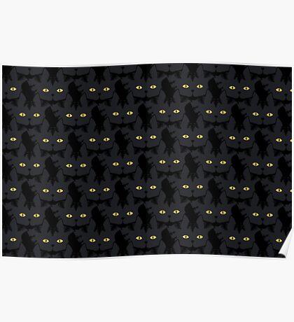 Black Tabby Cat Cattern [Cat Pattern] Poster