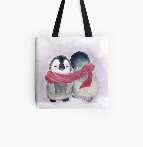 Penguin Cuddle All Over Print Tote Bag