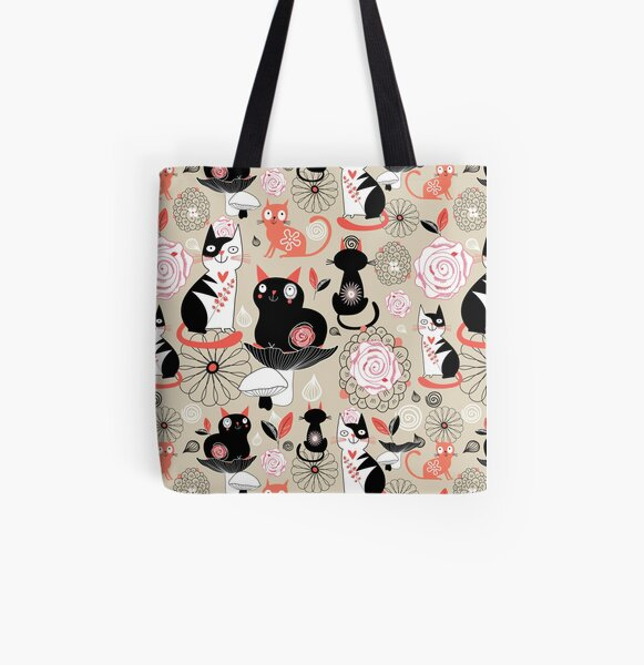 Floral pattern with cats All Over Print Tote Bag