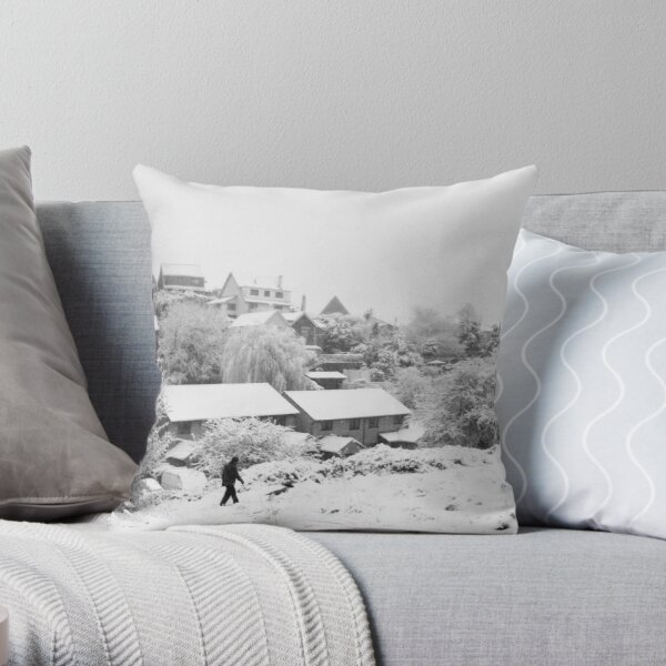 Walking in the snow on Troopers Hill Throw Pillow