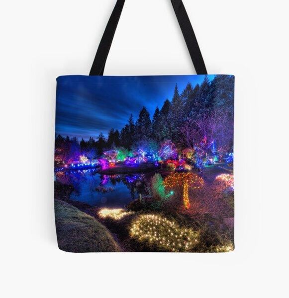 Japanese Garden Christmas Lights, Mayne Island, BC, 2013 All Over Print Tote Bag