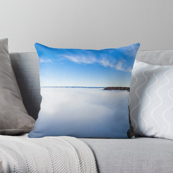 Rare Grand Canyon covered with fog, panoramic Throw Pillow