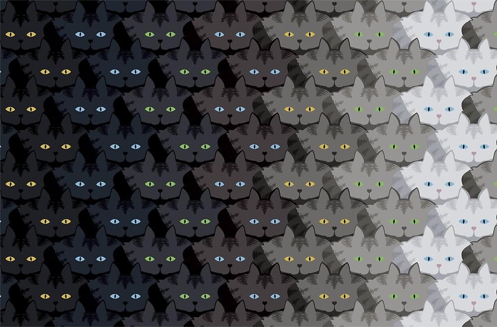 Grey Tabby Cat Vertical Stripe Cattern [Cat Pattern] by Brent Pruitt