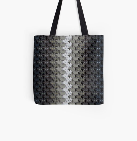 Grey Tabby Cat Vertical Stripe Cattern [Cat Pattern] All Over Print Tote Bag