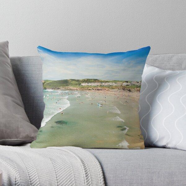 Polzeath Beach (August) Throw Pillow