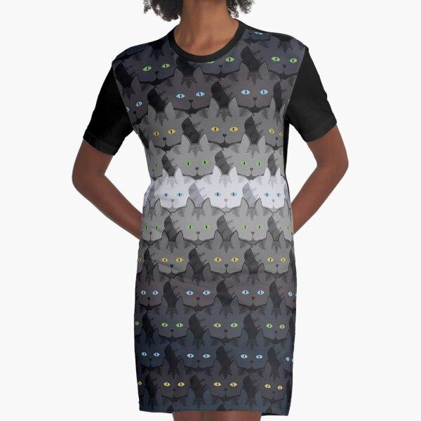 Grey Tabby Cat Horizontal Stripe Cattern [Cat Pattern] Graphic T-Shirt Dress