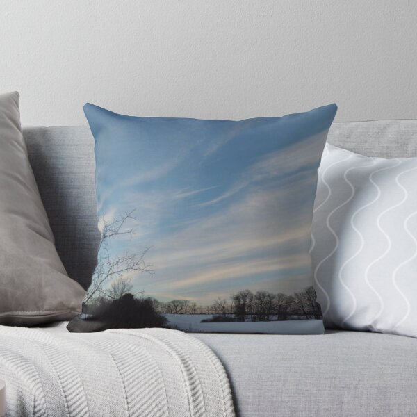 Winter - Evening Sky, Great Meadow Throw Pillow