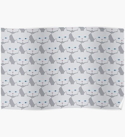 Light Grey #01 Cat Cattern [Cat Pattern] Poster