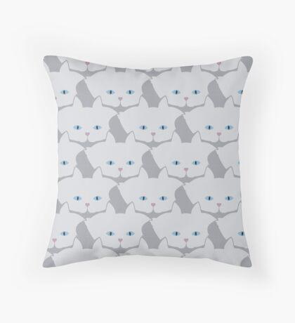 Light Grey #01 Cat Cattern [Cat Pattern] Throw Pillow
