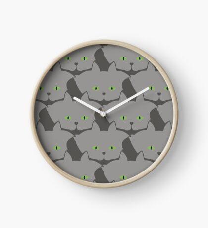 Grey #02 Cat Cattern [Cat Pattern] Clock