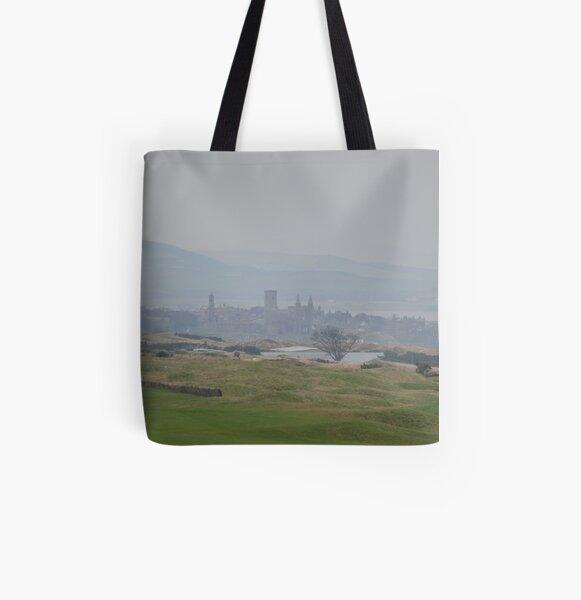 Misty St Andrews Skyline All Over Print Tote Bag