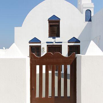 Church with Gate: Oia, Santorini by Carole-Anne