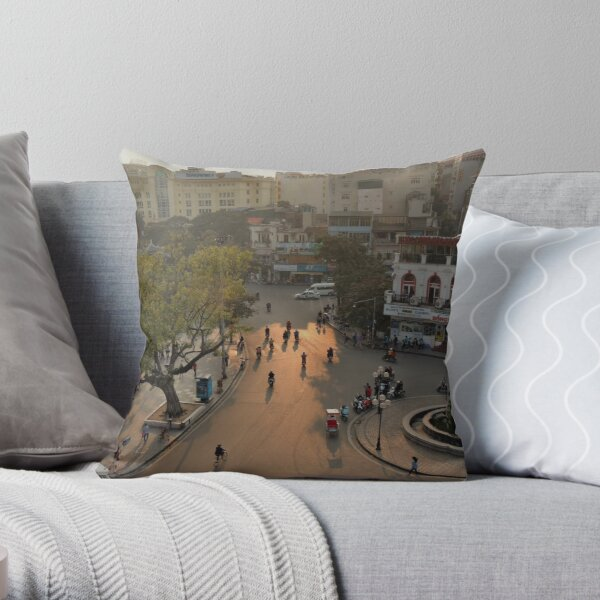 dusk-lit street, hanoi Throw Pillow