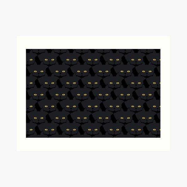 Black Cat Cattern [Cat Pattern] Art Print