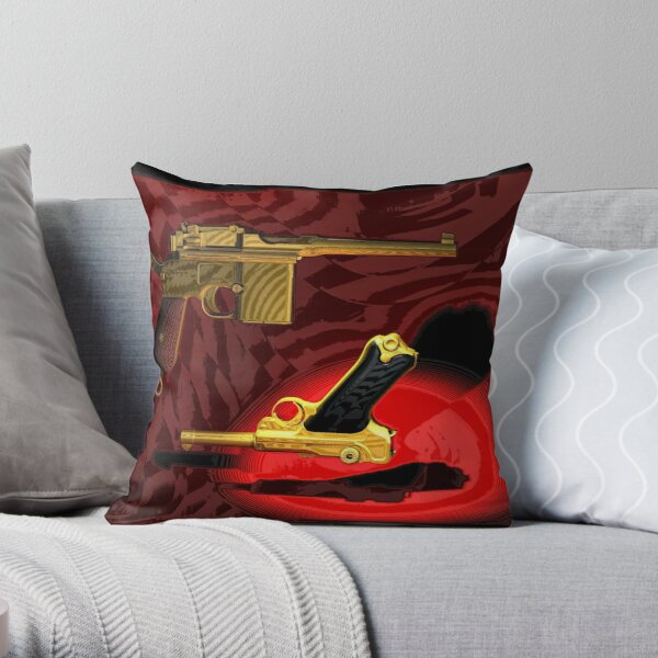 Mauser C96 & Luger P08 (Parabellum) - Pop Art Guns Throw Pillow