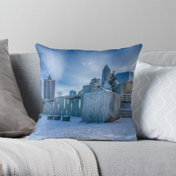 charlotte city skyline behind romare bearden park Throw Pillow