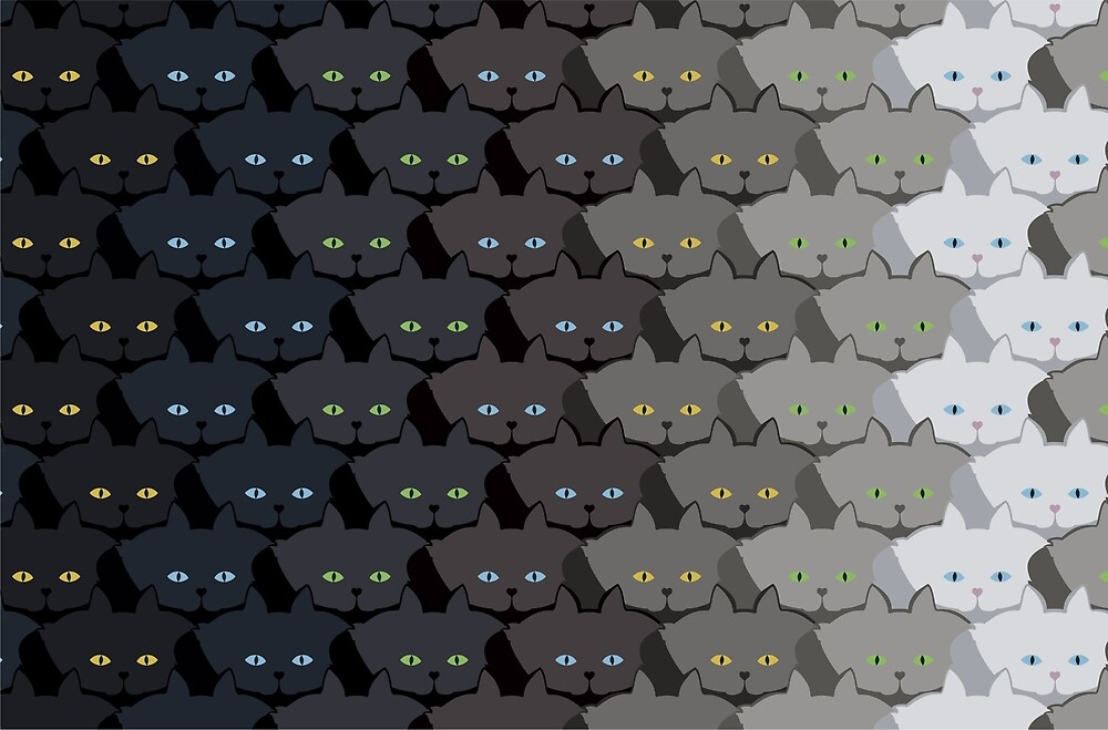 Grey Cat Vertical Stripe Cattern [Cat Pattern] by Brent Pruitt