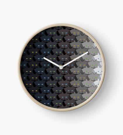 Grey Cat Vertical Stripe Cattern [Cat Pattern] Clock