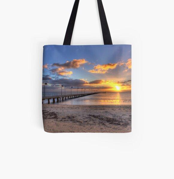 Sun Rays Over Frankston Pier All Over Print Tote Bag