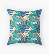 Colorful Tropical Jungle Leaves Throw Pillow