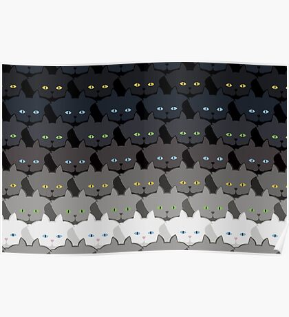 Grey Cat Horizontal Stripe Cattern [Cat Pattern] Poster