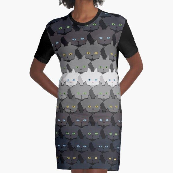 Grey Cat Horizontal Stripe Cattern [Cat Pattern] Graphic T-Shirt Dress