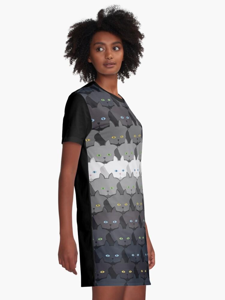 Alternate view of Grey Cat Horizontal Stripe Cattern [Cat Pattern] Graphic T-Shirt Dress
