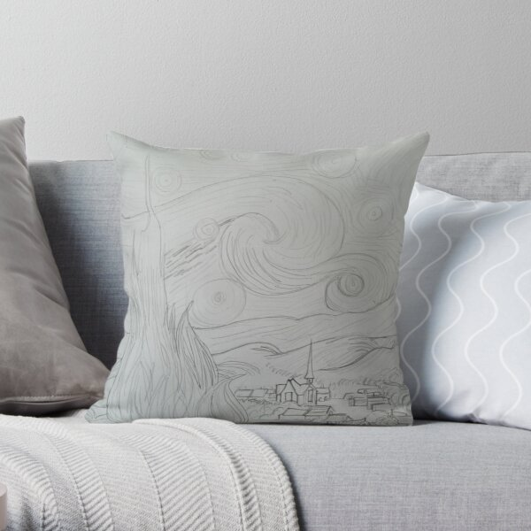 Drawing of Starry Night by Vincent Van Gogh Throw Pillow