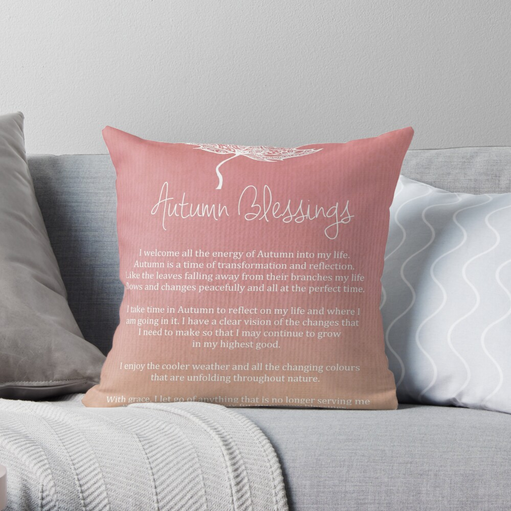Affirmation - Autumn Blessings Throw Pillow