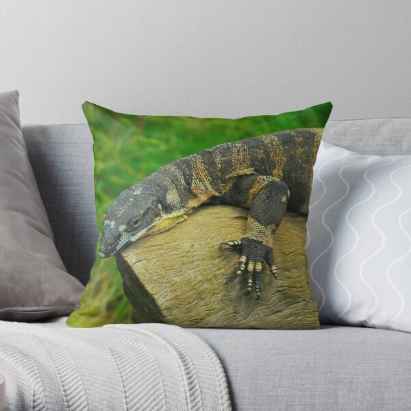 Sunbaking Perentie Throw Pillow