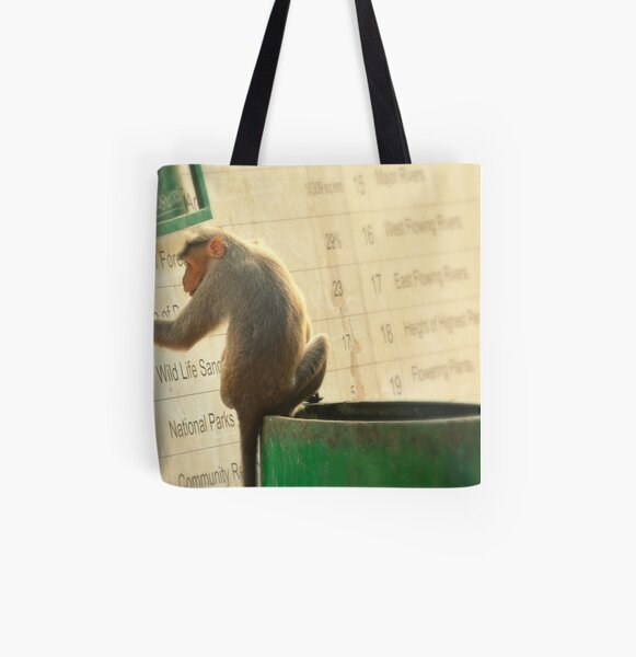 Curious Monkey Reading A Sign In Kerala, India All Over Print Tote Bag