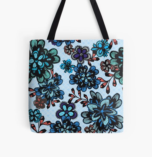 Blue Floral Lace All Over Print Tote Bag
