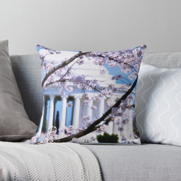 Jefferson Memorial Cherry Blossoms  Throw Pillow