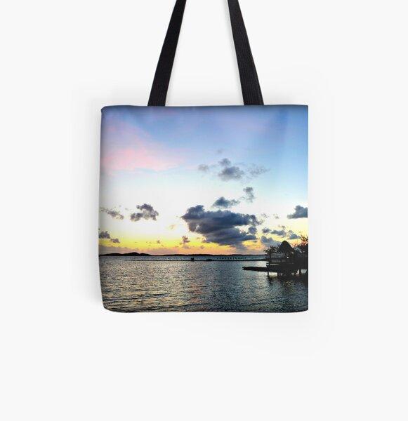 Vibrant Caribbean Sunrise In The Beautful Exumas, Bahamas All Over Print Tote Bag