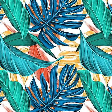 Colorful Tropical Jungle Leaves by Gravityx9