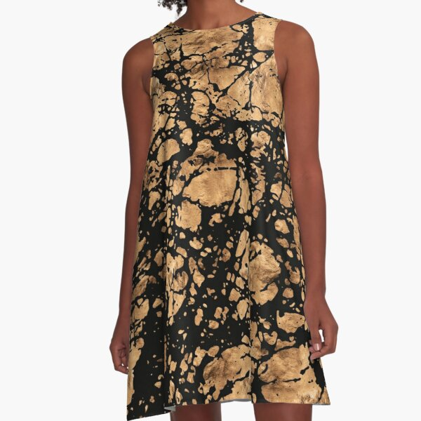 Black Gold Rugged Marble A-Line Dress