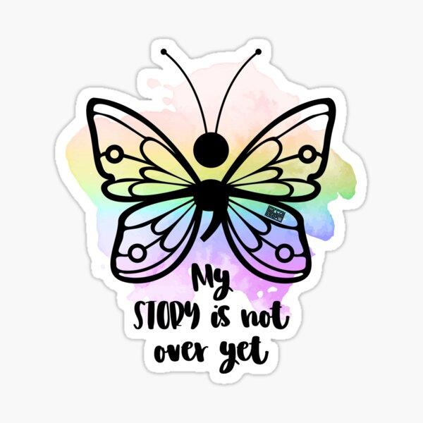 BUTTERFLY (;) DEPRESSION LGBT RAINBOW GAY PRIDE FLAG Sticker