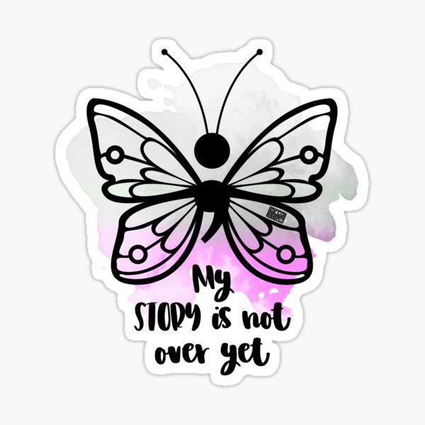 BUTTERFLY (;) DEPRESSION LGBTQ ASEXUAL PRIDE FLAG Sticker