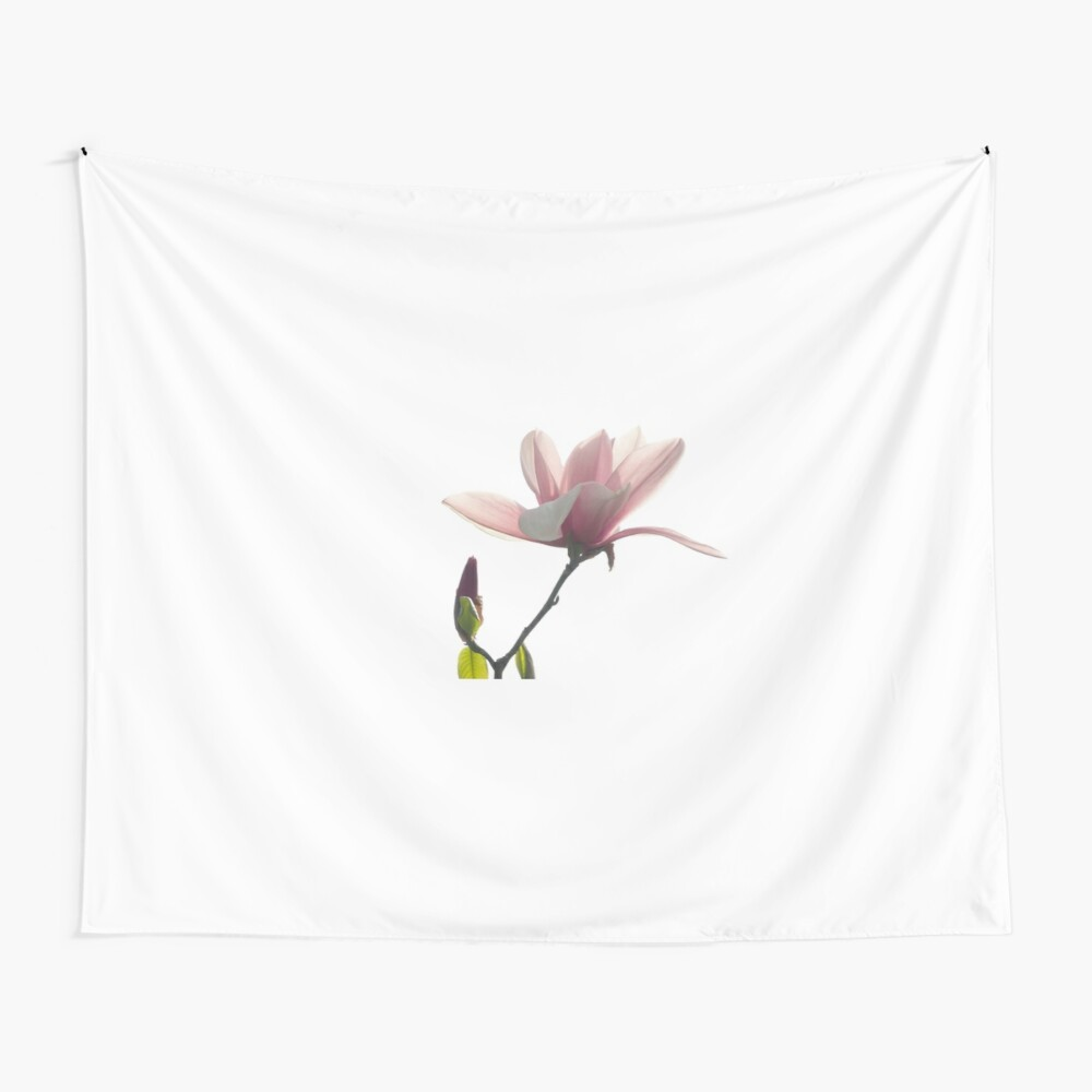 Pink magnolia unfolding Wall Tapestry