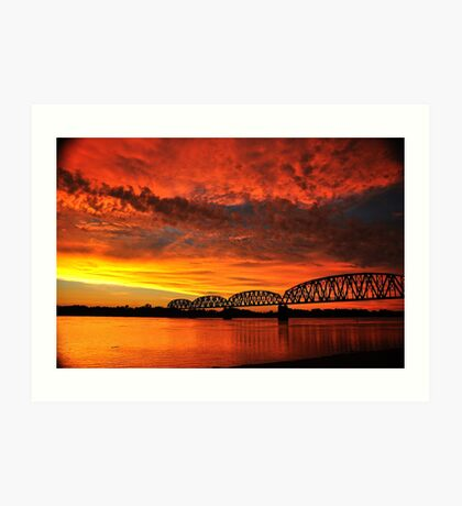 Fire On The River Art Print