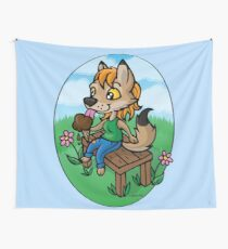 Summertime Treat - Coyote with Ice Cream Tapestry